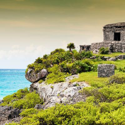 ¡Viva Mexico! Square Collection - Ancient Mayan Fortress in Riviera Maya III - Tulum-Philippe Hugonnard-Photographic Print
