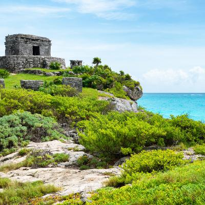 ¡Viva Mexico! Square Collection - Ancient Mayan Fortress in Riviera Maya IV - Tulum-Philippe Hugonnard-Photographic Print