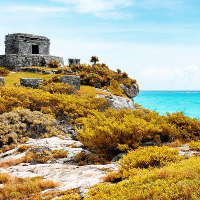 ¡Viva Mexico! Square Collection - Ancient Mayan Fortress in Riviera Maya VI - Tulum-Philippe Hugonnard-Photographic Print