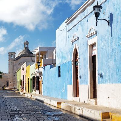 ¡Viva Mexico! Square Collection - Beautiful Colorful Street in Campeche-Philippe Hugonnard-Photographic Print