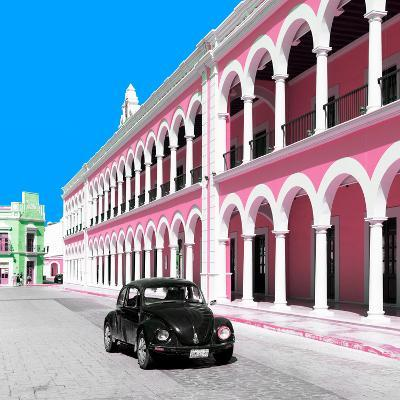¡Viva Mexico! Square Collection - Black VW Beetle and Pink Architecture in Campeche-Philippe Hugonnard-Photographic Print