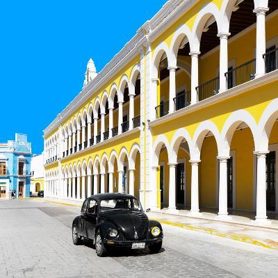 ¡Viva Mexico! Square Collection - Black VW Beetle and Yellow Architecture in Campeche-Philippe Hugonnard-Photographic Print