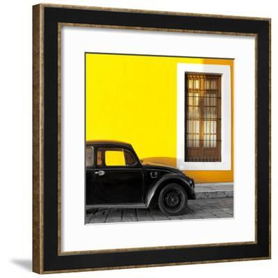 ¡Viva Mexico! Square Collection - Black VW Beetle Car with Yellow Street Wall-Philippe Hugonnard-Framed Photographic Print