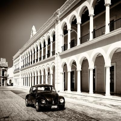 ¡Viva Mexico! Square Collection - Black VW Beetle in Campeche II-Philippe Hugonnard-Photographic Print