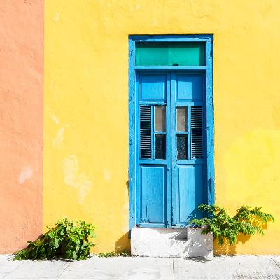 ¡Viva Mexico! Square Collection - Blue Door & Yellow Wall in Campeche-Philippe Hugonnard-Photographic Print