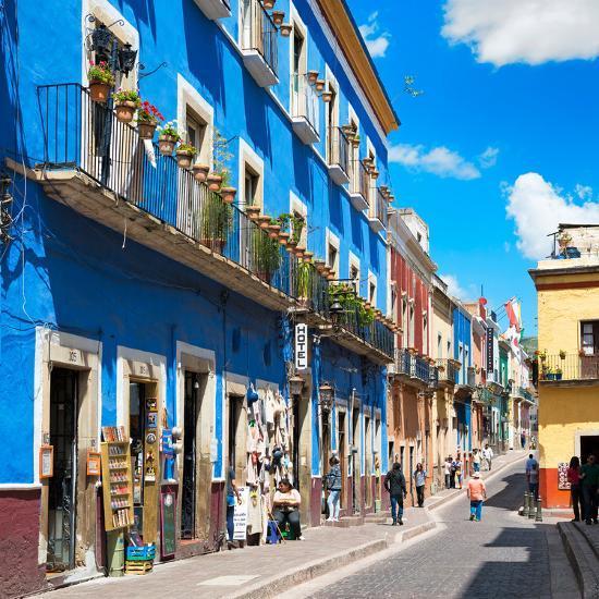 ¡Viva Mexico! Square Collection - Blue Street in Guanajuato-Philippe Hugonnard-Photographic Print