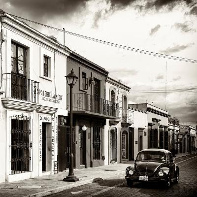 ¡Viva Mexico! Square Collection - Colorful Facades and Black VW Beetle Car V-Philippe Hugonnard-Photographic Print