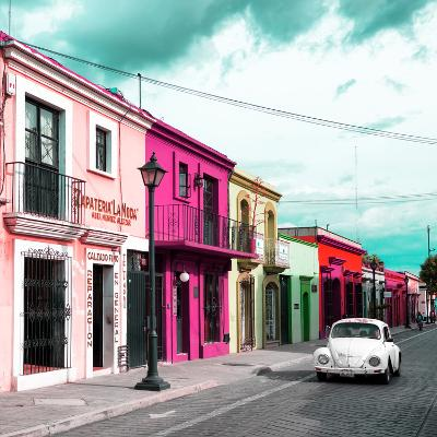 ¡Viva Mexico! Square Collection - Colorful Facades and White VW Beetle Car III-Philippe Hugonnard-Photographic Print