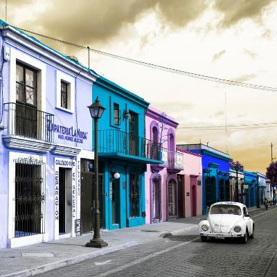¡Viva Mexico! Square Collection - Colorful Facades and White VW Beetle Car IV-Philippe Hugonnard-Photographic Print