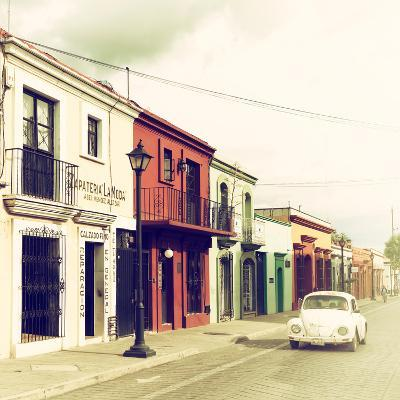¡Viva Mexico! Square Collection - Colorful Facades and White VW Beetle Car VI-Philippe Hugonnard-Photographic Print