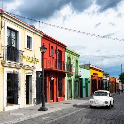 ¡Viva Mexico! Square Collection - Colorful Facades and White VW Beetle Car-Philippe Hugonnard-Photographic Print