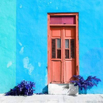 ¡Viva Mexico! Square Collection - Coral Door & Blue Wall in Campeche-Philippe Hugonnard-Photographic Print