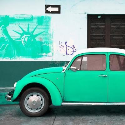 ¡Viva Mexico! Square Collection - Coral Green VW Beetle Car and American Graffiti-Philippe Hugonnard-Photographic Print
