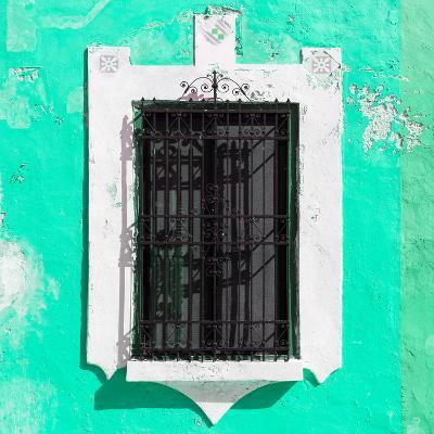 ¡Viva Mexico! Square Collection - Coral Green Wall & Black Window-Philippe Hugonnard-Photographic Print