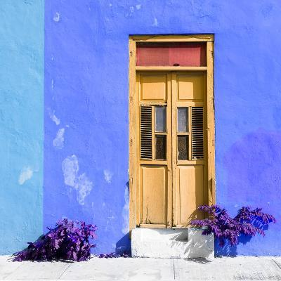 ¡Viva Mexico! Square Collection - Dark Beige Door & Blue Wall in Campeche-Philippe Hugonnard-Photographic Print