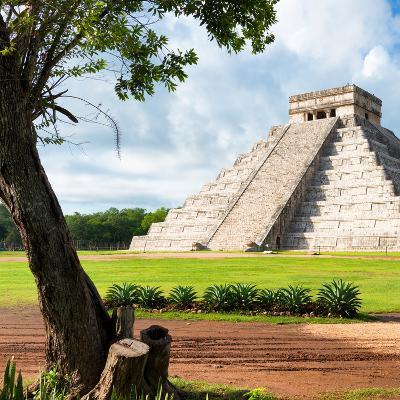 ¡Viva Mexico! Square Collection - El Castillo Pyramid - Chichen Itza XV-Philippe Hugonnard-Photographic Print