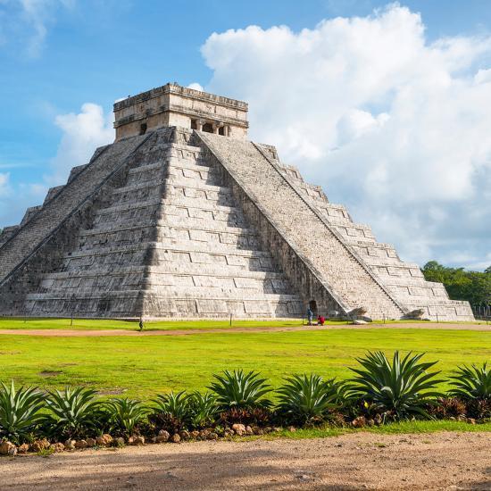¡Viva Mexico! Square Collection - El Castillo Pyramid in Chichen Itza V-Philippe Hugonnard-Photographic Print