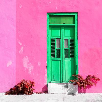 ¡Viva Mexico! Square Collection - Green Door & Pink Wall in Campeche-Philippe Hugonnard-Photographic Print