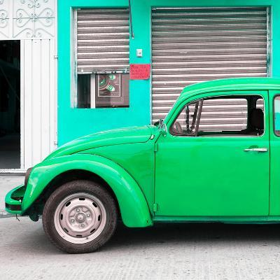 ¡Viva Mexico! Square Collection - Green VW Beetle and Coral Green Facade-Philippe Hugonnard-Photographic Print