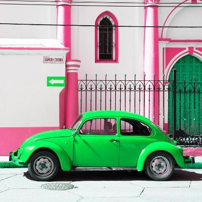 ¡Viva Mexico! Square Collection - Green VW Beetle in San Cristobal-Philippe Hugonnard-Photographic Print