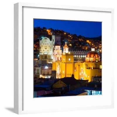 ¡Viva Mexico! Square Collection - Guanajuato Church by Night-Philippe Hugonnard-Framed Photographic Print