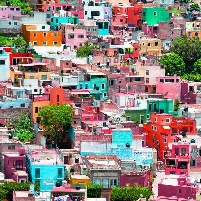 ¡Viva Mexico! Square Collection - Guanajuato Colorful Cityscape II-Philippe Hugonnard-Photographic Print