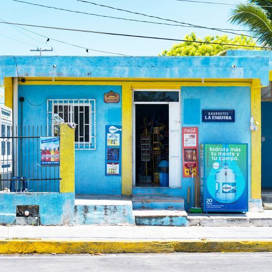"¡Viva Mexico! Square Collection - ""La Esquina"" Blue Supermarket - Cancun-Philippe Hugonnard-Photographic Print"
