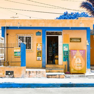 "¡Viva Mexico! Square Collection - ""La Esquina"" Orange Supermarket - Cancun-Philippe Hugonnard-Photographic Print"