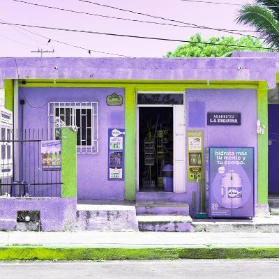 """¡Viva Mexico! Square Collection - """"La Esquina"""" Purple Supermarket - Cancun-Philippe Hugonnard-Photographic Print"""