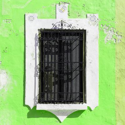 ¡Viva Mexico! Square Collection - Lime Green Wall & Black Window-Philippe Hugonnard-Photographic Print