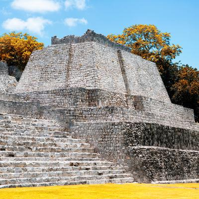 ¡Viva Mexico! Square Collection - Mayan Ruins in Edzna with Fall Colors-Philippe Hugonnard-Photographic Print