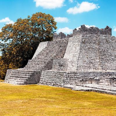 ¡Viva Mexico! Square Collection - Mayan Ruins with Fall Colors - Edzna II-Philippe Hugonnard-Photographic Print