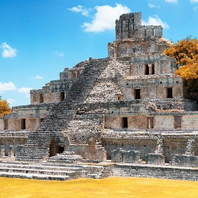 ¡Viva Mexico! Square Collection - Mayan Ruins with Fall Colors - Edzna III-Philippe Hugonnard-Photographic Print