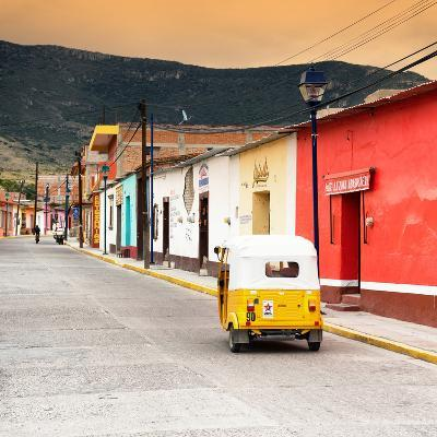 ?Viva Mexico! Square Collection - Mexican Street with Tuk Tuk at Sunset-Philippe Hugonnard-Photographic Print
