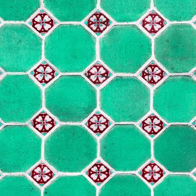 ¡Viva Mexico! Square Collection - Mosaics Coral Green Bricks-Philippe Hugonnard-Photographic Print