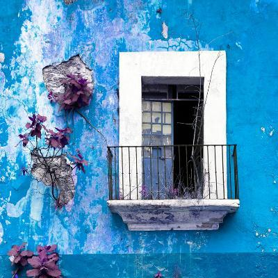¡Viva Mexico! Square Collection - Old Blue Facade-Philippe Hugonnard-Photographic Print