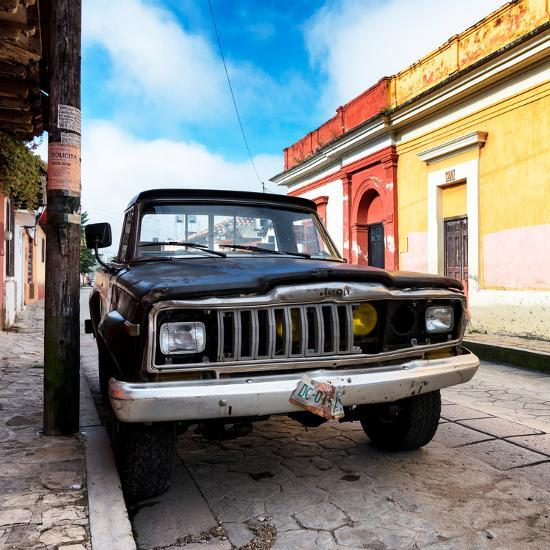 ¡Viva Mexico! Square Collection - Old Jeep in the street of San Cristobal-Philippe Hugonnard-Photographic Print