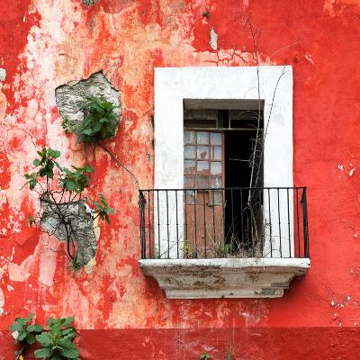 ¡Viva Mexico! Square Collection - Old Red Facade-Philippe Hugonnard-Photographic Print