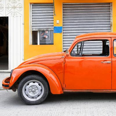 ¡Viva Mexico! Square Collection - Orange VW Beetle and Light Orange Facade-Philippe Hugonnard-Photographic Print