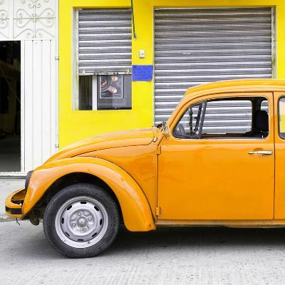 ¡Viva Mexico! Square Collection - Orange VW Beetle and Yellow Facade-Philippe Hugonnard-Photographic Print