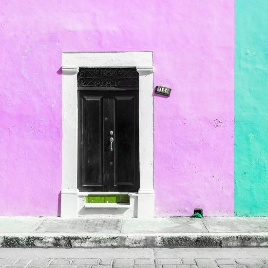 ¡Viva Mexico! Square Collection - Pink and Coral Green Facade - Campeche-Philippe Hugonnard-Photographic Print