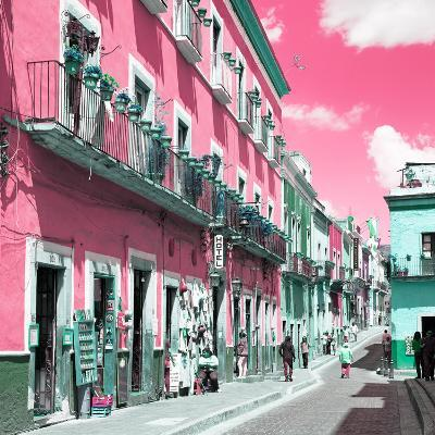 ¡Viva Mexico! Square Collection - Pink Street in Guanajuato-Philippe Hugonnard-Photographic Print
