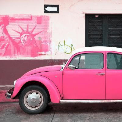 ¡Viva Mexico! Square Collection - Pink VW Beetle Car and American Graffiti-Philippe Hugonnard-Photographic Print