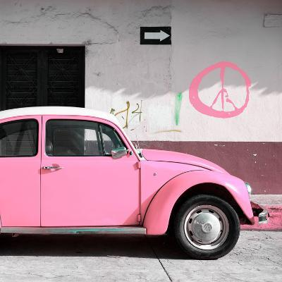 ¡Viva Mexico! Square Collection - Pink VW Beetle Car & Peace Symbol-Philippe Hugonnard-Photographic Print