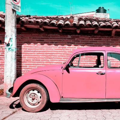 ¡Viva Mexico! Square Collection - Pink VW Beetle Car-Philippe Hugonnard-Photographic Print