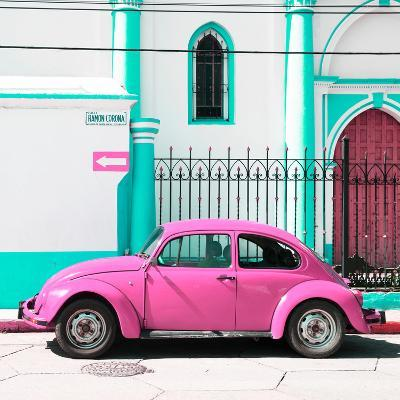 ¡Viva Mexico! Square Collection - Pink VW Beetle in San Cristobal-Philippe Hugonnard-Photographic Print
