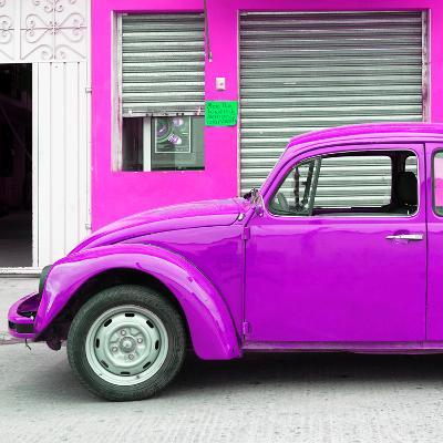 ¡Viva Mexico! Square Collection - Purple VW Beetle and Deep Pink Facade-Philippe Hugonnard-Photographic Print