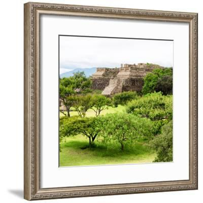 ¡Viva Mexico! Square Collection - Pyramid Maya of Monte Alban-Philippe Hugonnard-Framed Photographic Print