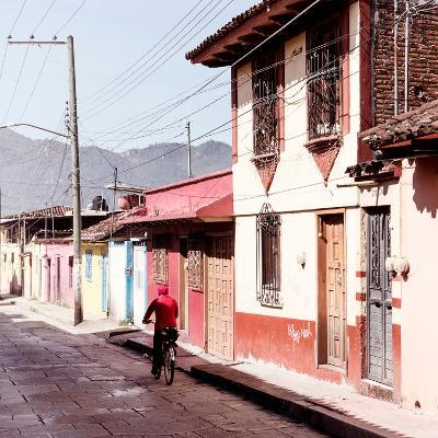 ¡Viva Mexico! Square Collection - Red Cyclist in the street of San Cristobal III-Philippe Hugonnard-Photographic Print