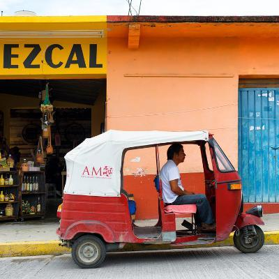 ¡Viva Mexico! Square Collection - Red Tuk Tuk-Philippe Hugonnard-Photographic Print